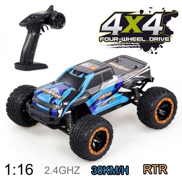 Generic Linxtech 16889A 1/16 30km / h 4WD Rc voiture Big Foot 2.4G voiture haute vitesse jouet pour adultes enfants bleu