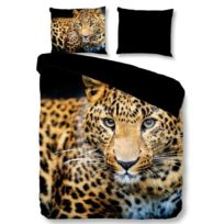 No Name - Parure de couette Leopard - 1 housse de couette 200x200 cm + 2 taies 60x70 cm multicolore
