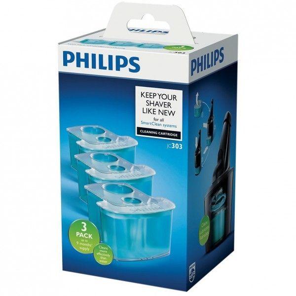 Philips Pack de 3 K7 SmartClean Réf.: Jc303/50 Le système de double filtre de la tête de rasoir élimine les poils, la mousse et le gel et laisse sur votre un parfum frais et agréable, et est 10 fois plus propre qu'un nettoyage à l'eau.L'huilage actif rédu