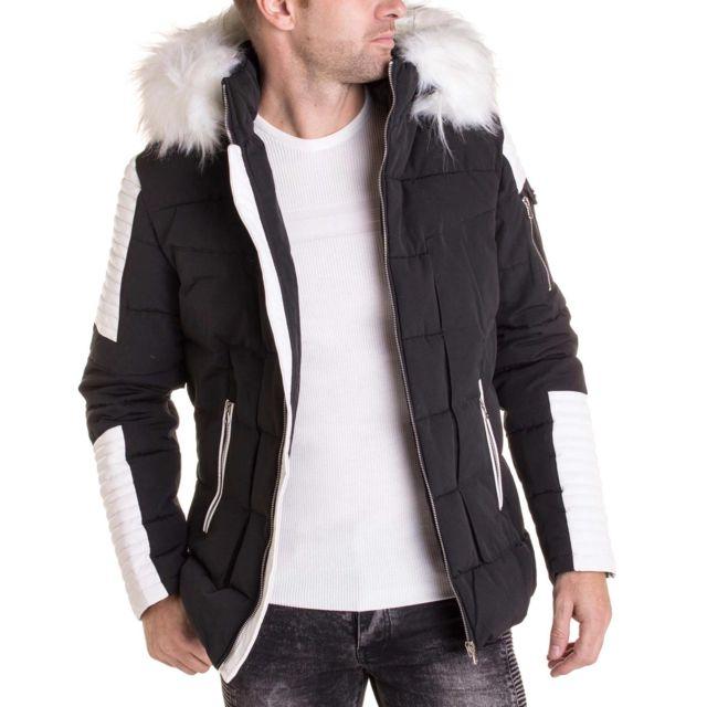 Blz Jeans Manteau Noir Simili Cuir Blanc Avec Capuche Fourrure