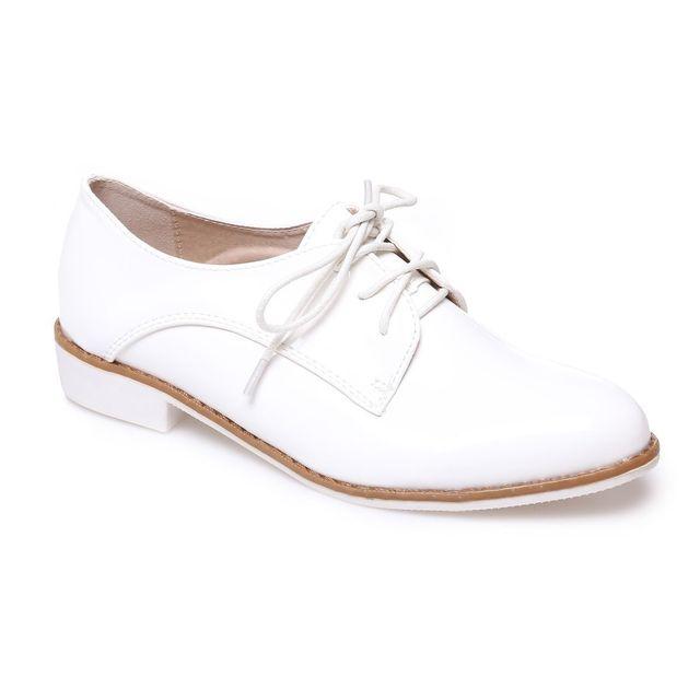 Cher Vente Chaussures Achat Derbies Blanc Vernis Pas Lamodeuse Jc3KTlF1