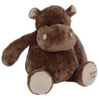 Histoire D'OURS - Peluche Hippopotame assis : Grand modèle 38 cm
