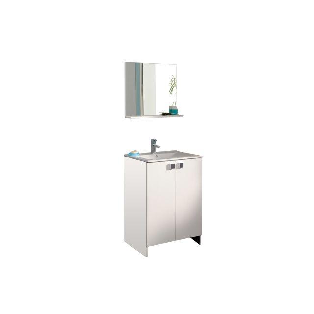 Ensemble miroir + meuble avec vasque coloris blanc
