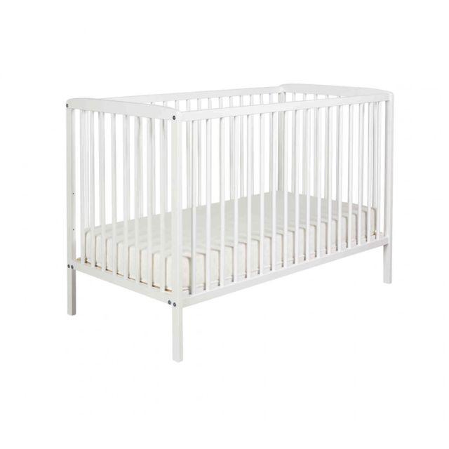 TERRE DE NUIT Lit bébé à barreaux 60x120 en bois blanc matelas LT0001