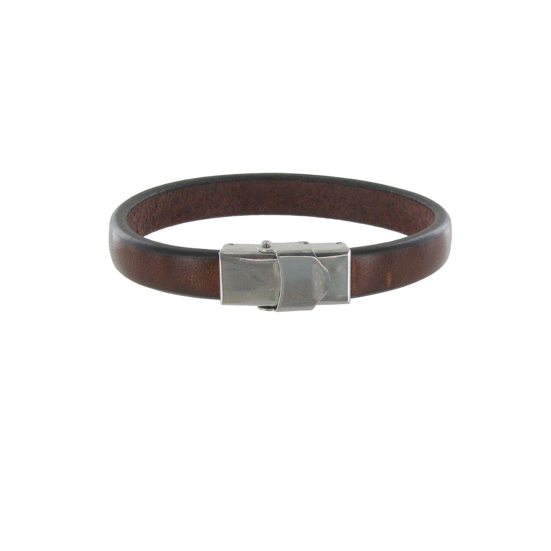 e611280856d LES POULETTES BIJOUX- Bracelet Homme Cuir Marron Foncé Large Fermoir Acier  Inoxydable - taille 23