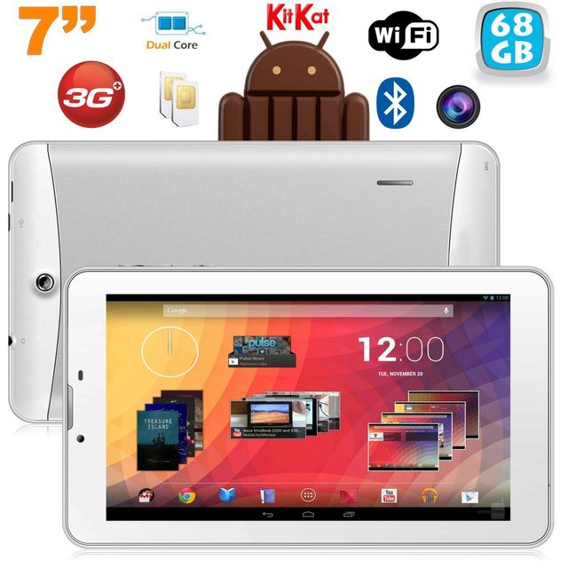 Yonis Tablette 3G 7 pouces Gps Otg Android 4.4 Double Sim 68Go Blanc