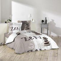 Douceur D'INTERIEUR - Housse de couette Galets zen 220x240cm avec taies d'oreillers 100% coton