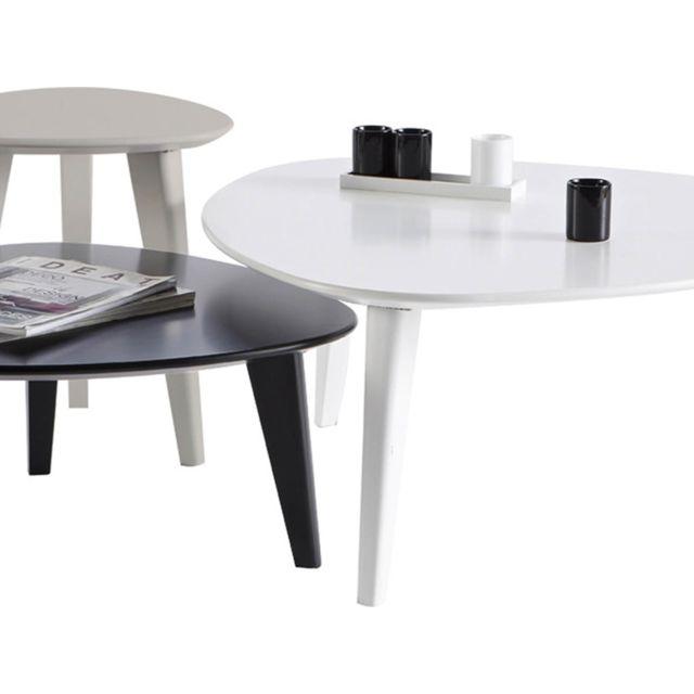 HABITAT ET JARDIN Lot de 3 tables basses Stone - 80 x 80 x 35 cm - Blanc/Noir/Gris