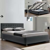 Meubler Design - Lit complet sommier relevable + tête de lit + cadre de lit Capitole - Couleurs - Griss - 140x190
