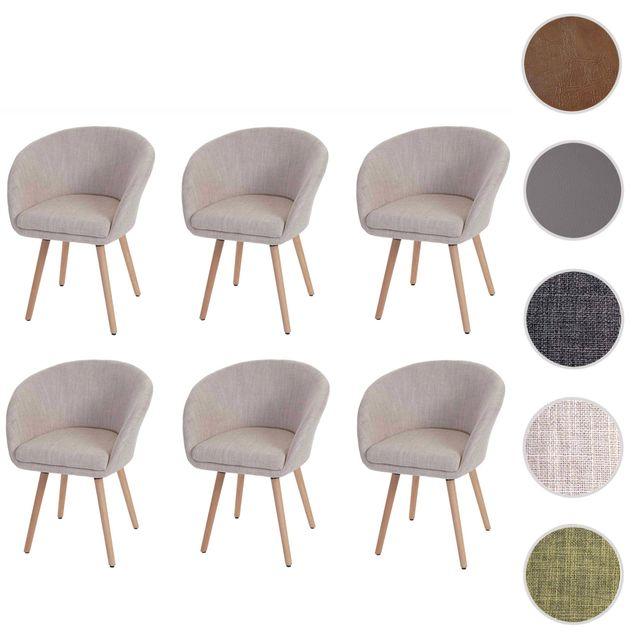 Mendler 6x chaise de salle à manger Malmö T633, fauteuil, design rétro des années 50 ~ tissu, crème/gris