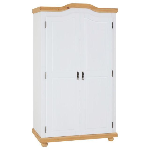 IDIMEX Armoire MÜNCHEN dressing penderie rangement vêtements avec 2 portes battantes 1 étagère et 1 tringle, en pin massif lasu