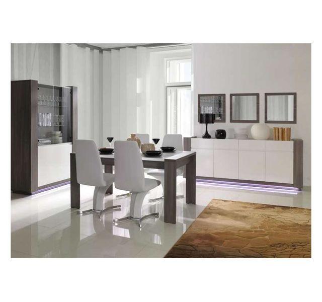 CHLOE DESIGN Table à manger design AUGUST - Gris et blanc - 160
