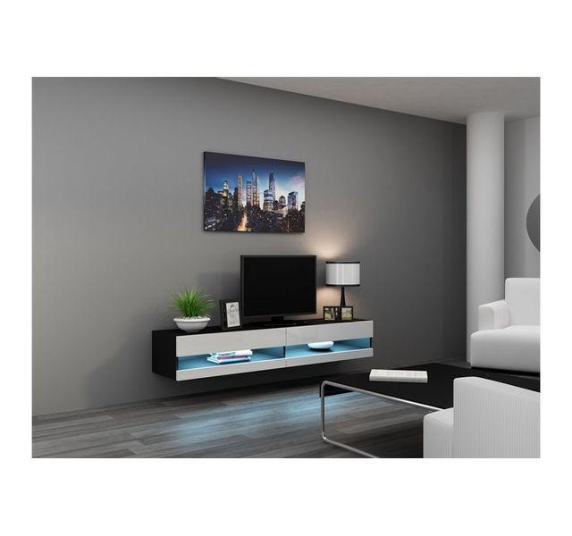 Chloe design meuble tv design suspendu larmo new noir et blanc