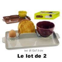 Revimport - Plateaux ''Petitt Déjeuner'' x 2 avec 2 bols grès