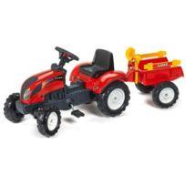 Falquet - Falk Tracteur a pédales Rouge Ranch avec remorque pelle et rateau