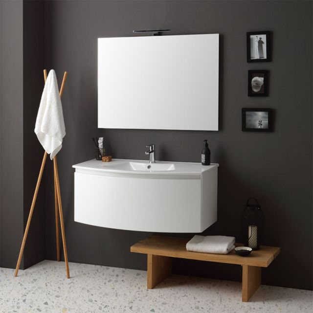 Kiamami Valentina Armoire De Toilette Suspendue Courbe Cm102 LaquÉ Blanc Lavabo Et Miroir | Riva