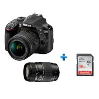 NIKON - Pack Amateur -D3400-AFP-18-55-VR+ Carte SD 16GO+ TAMRON-70300DI-LD-NII
