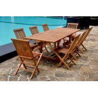 CONCEPT USINE - Kajang: Salon en teck massif 10 pers + 8 chaises + table rectangulaire