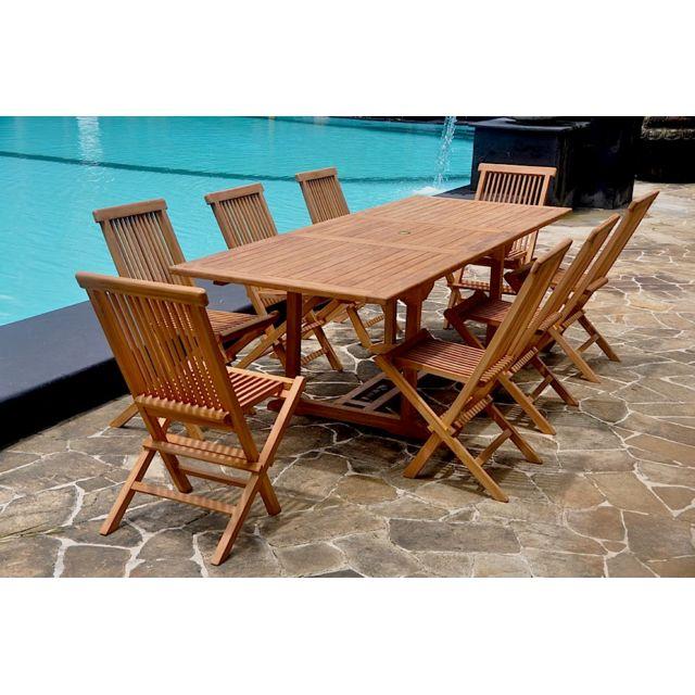 Kajang: Salon en teck massif 10 pers + 8 chaises + table rectangulaire