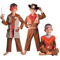 César - Déguisement 3 en 1 - Indien Cowboy et Pirate - Taille : 8/10 ans 126 à 138 cm