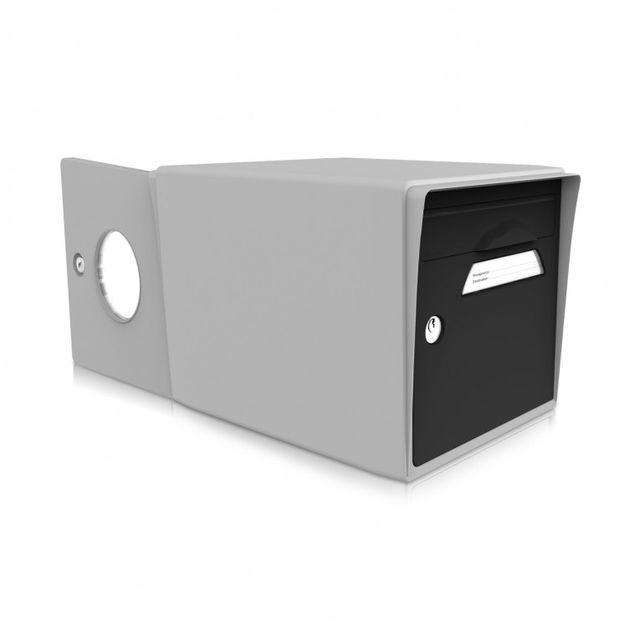 signee bo te aux lettres 2 portes noir uni gris pas cher achat vente bo te aux lettres. Black Bedroom Furniture Sets. Home Design Ideas