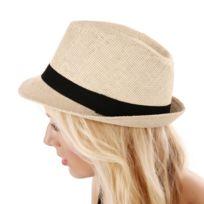 Lamodeuse - Chapeau en paille beige clair avec ruban noir