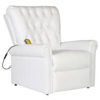 Justdeco - Superbe Fauteuil de massage électrique inclinable en cuir artificiel blanc Neuf