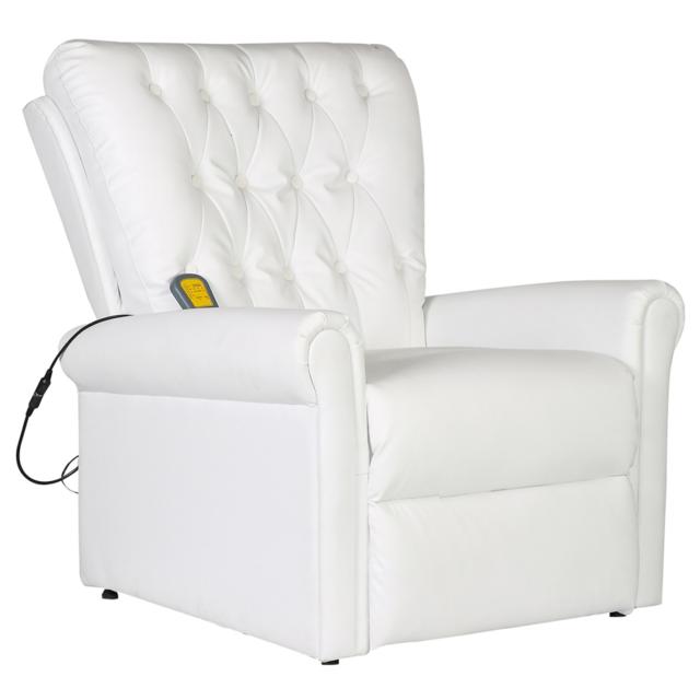Rocambolesk Superbe Fauteuil de massage électrique inclinable en cuir artificiel blanc Neuf
