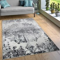 paco home crateur tapis salon tapis dcorations vintage aspect noir blanc 60x100 - Tapis Noir Et Blanc