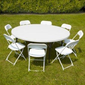 Ensemble table ronde et chaises pliantes 10 personnes pehd - Table pliante 10 personnes ...