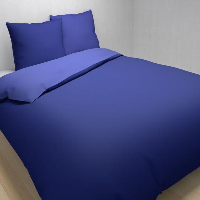 tex home parure vera housse de couette 2 taies d 39 oreiller en coton bleu fonc pas cher. Black Bedroom Furniture Sets. Home Design Ideas