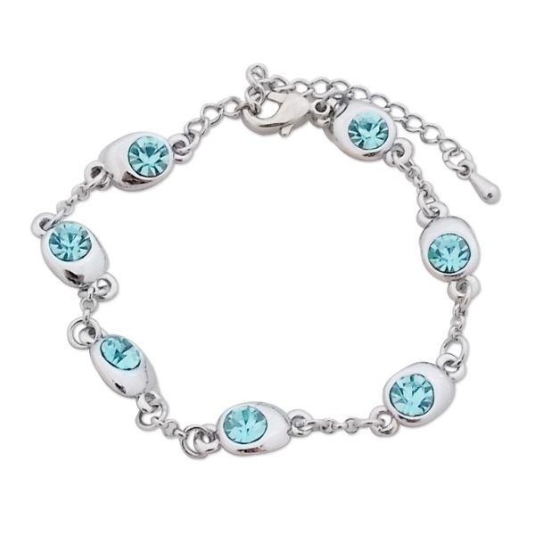 Totalcadeau - Bracelet aux 7 écrins argentés ovales et faux cristal bleu  ciel bijou fantaisie pas cher Acier - pas cher Achat   Vente Bracelets - ... 93ddd22066d7