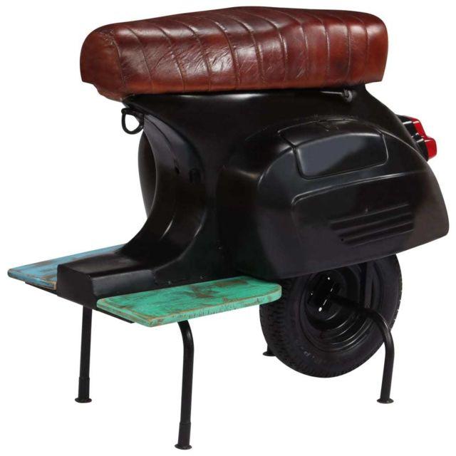 Magnifique Fauteuils reference Oslo Chaise de bar scooter Cuir véritable et bois recyclé Noir