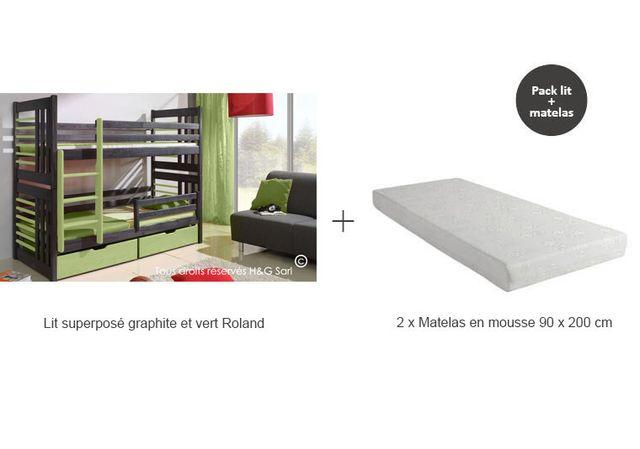 House and Garden - Lit Superpose Bois Massif Gris Graphite - Roland Avec  matelas Graphite et 037f1e18f843
