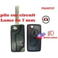 Adnauto - Psa307CP - Coque de cle electronique et lame 7mm Citroen-Peugeot - 3 Boutons - Bouton phare - Pile sur circuit