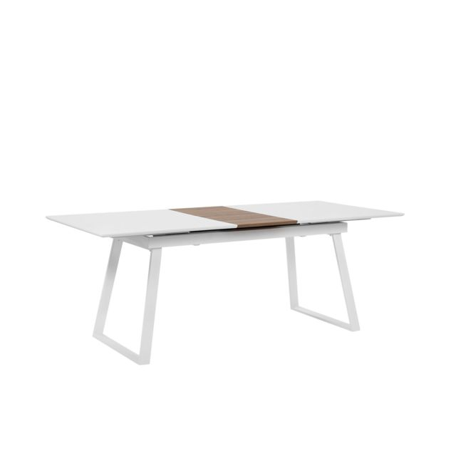 BELIANI Table 160 x 90 cm plateau extensible blanc et bois clair KALUNA - blanc