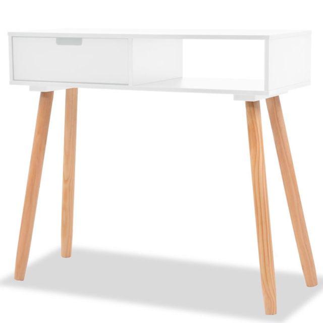 Magnifique Consoles gamme Bujumbura Table console Bois de pin massif 80 x 30 x 72 cm Blanc