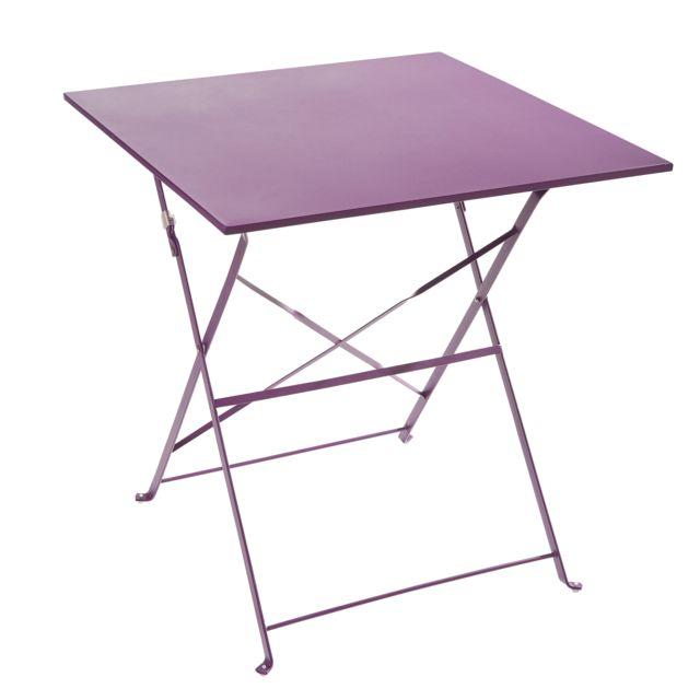 CARREFOUR - Table pliante - Métal - Violet - pas cher Achat / Vente ...