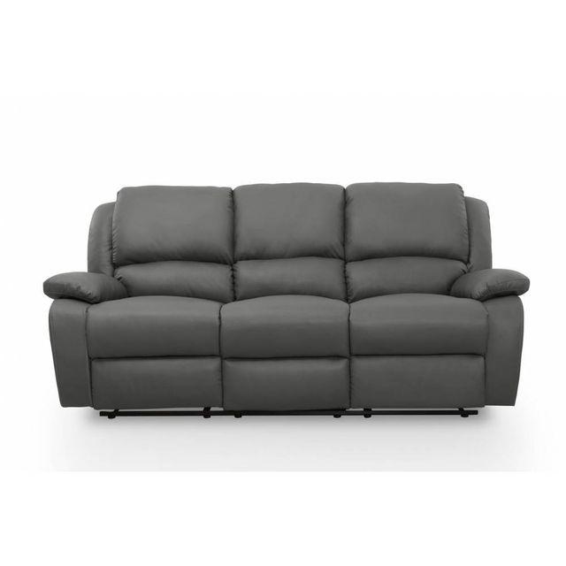usinestreet canap relaxation 3 places simili cuir detente couleur gris achat vente. Black Bedroom Furniture Sets. Home Design Ideas