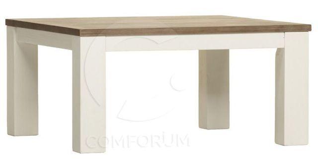 COMFORIUM Table basse carrée en acacia massif coloris blanc et havana