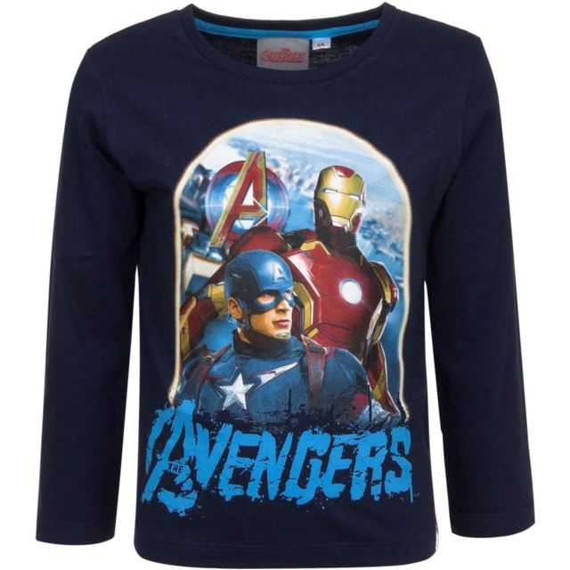 Marque Generique - Pull Sweat Les Avengers T-shirt manche longue 8 ans bleu d08a903c6af