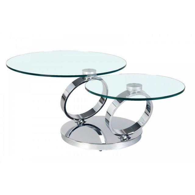 Inside 75 Table Ring à plateaux pivotants en verre et acier chromé