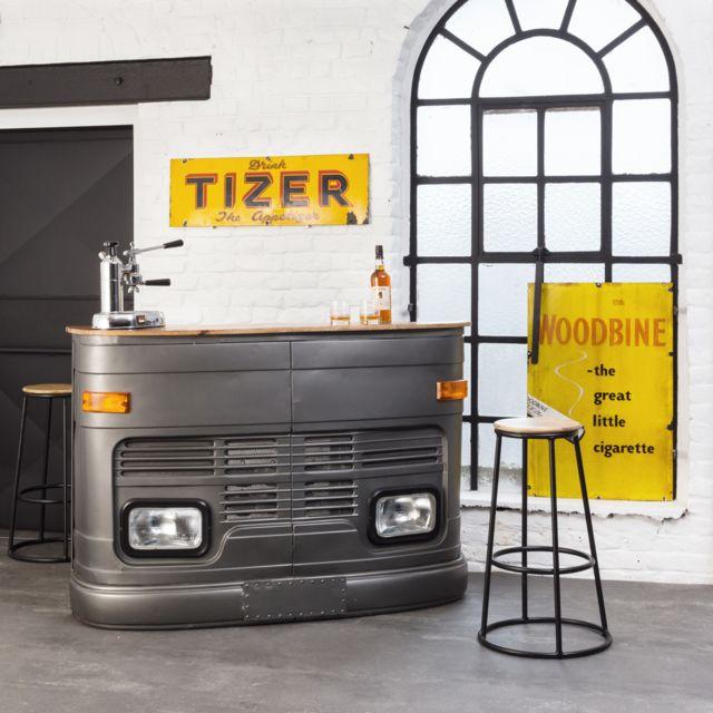 89dc5cd2ef6e0 Made In Meubles - Bar industriel Tata camion gris 158 cm | Gl29W. Couleur :  Bois