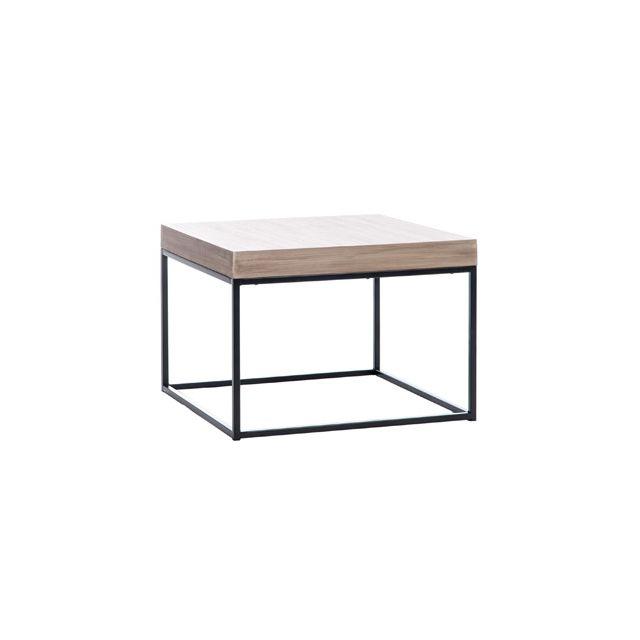 Table basse 50x50x35cm coloris bois et métal noir - Bergen