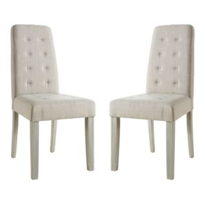 marque generique chaise de salle manger en pin massif et tissu lot de 2 alvis beige. Black Bedroom Furniture Sets. Home Design Ideas