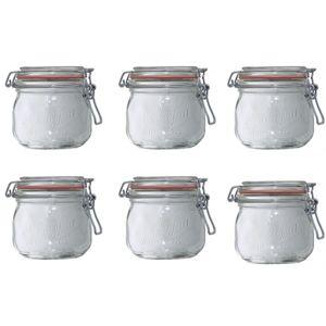 Le parfait lot de 6 bocaux en verre 500ml 900505 pas for Achat bocaux en verre