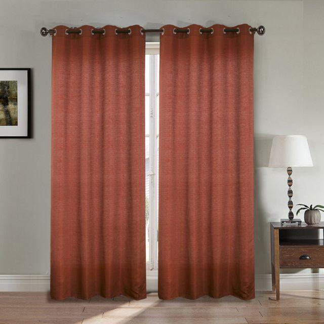 best interior paire de rideaux aspect lin bordeaux dimensions 140x260 pas cher achat. Black Bedroom Furniture Sets. Home Design Ideas