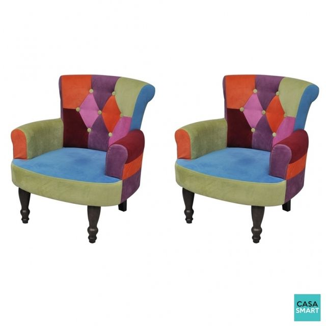 Casasmart Lot de 2 fauteuils Powell multicolore