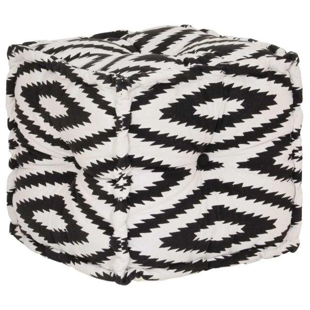 Uco Pouf Cube en coton Motif fait à la main 40x40 cm Noir et blanc