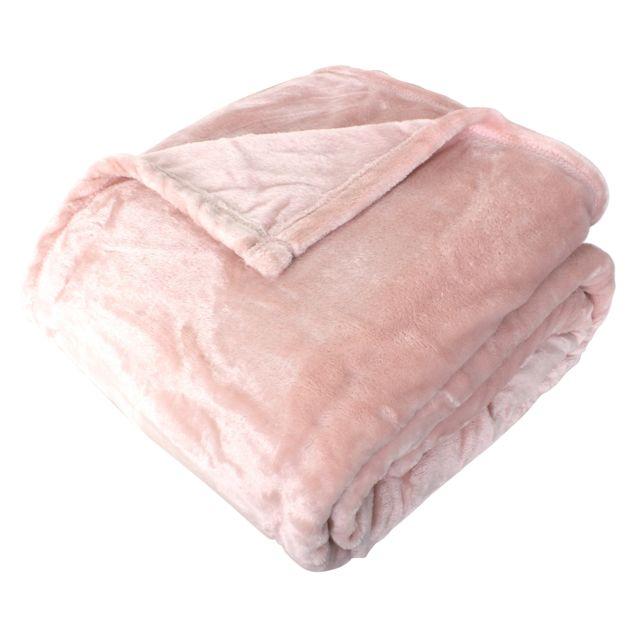 linnea couverture polaire microvelours 220x240 cm velvet rose poudre rose 100 polyester 320 g. Black Bedroom Furniture Sets. Home Design Ideas